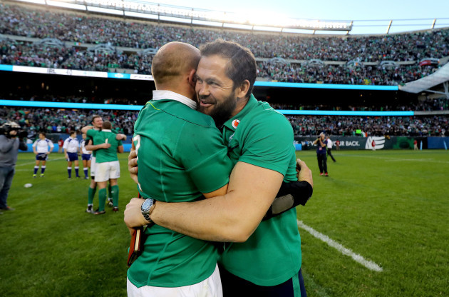 Andy Farrell and Rory Best celebrate winning