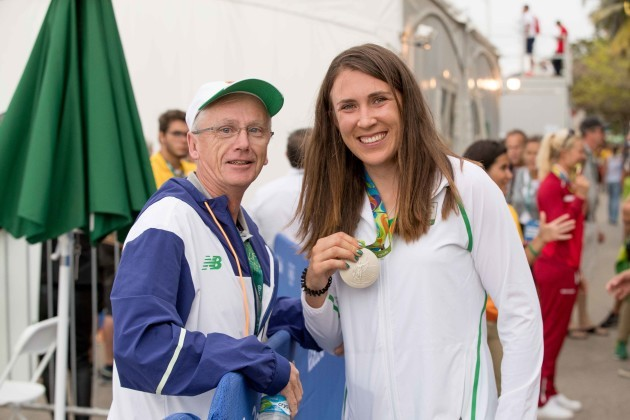 John Treacy celebrates with Annalise Murphy and her silver medal