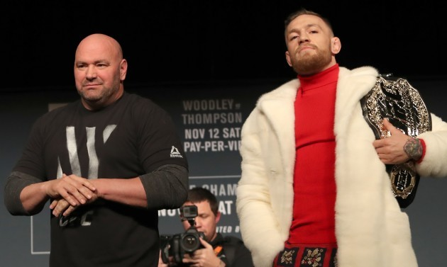 Eddie Alvarez, Dana White and Conor McGregor