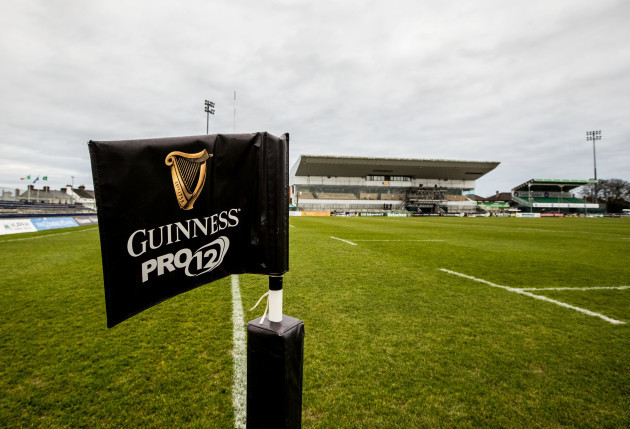 A view of a Guinness PRO12 flag before the game