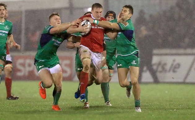 Tommy O'Donnell tackled by Tiernan O'Halloran and Peter Robb