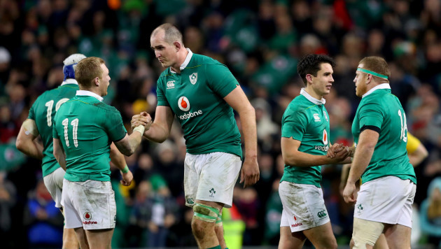 Keith Earls celebrates with Devin Toner