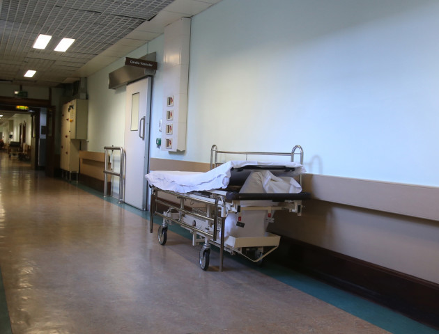Empty hospital beds in a corridor. Photo Photocall