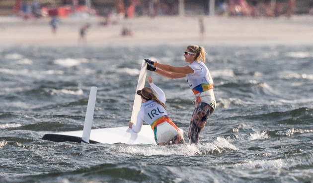 Andrea Brewster and Saskia Tidey's boat capsizes after their race