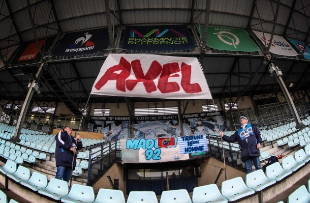 Racing 92 fans hold up a banner for the late Anthony Foley in the Stade Yves-du-Manoir before the ground opens