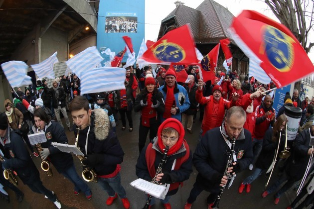 Racing 92 and Munster fans before the match