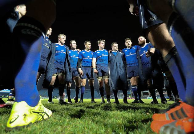 Leinster team huddle after the game