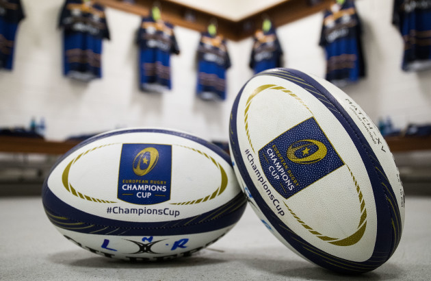 A view of EPCR match day balls in the Leinster dressing room