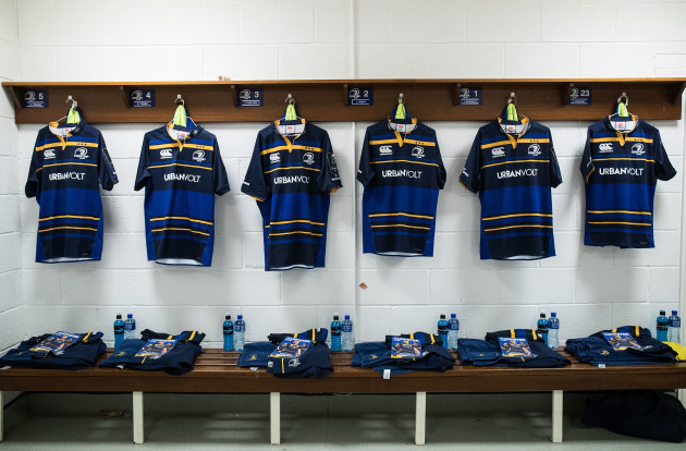A view of match day jerseys in the dressing room