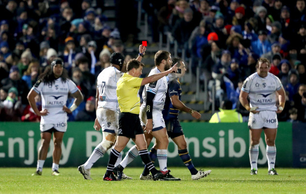 Frans Steyn gets a red card from referee JP Doyle