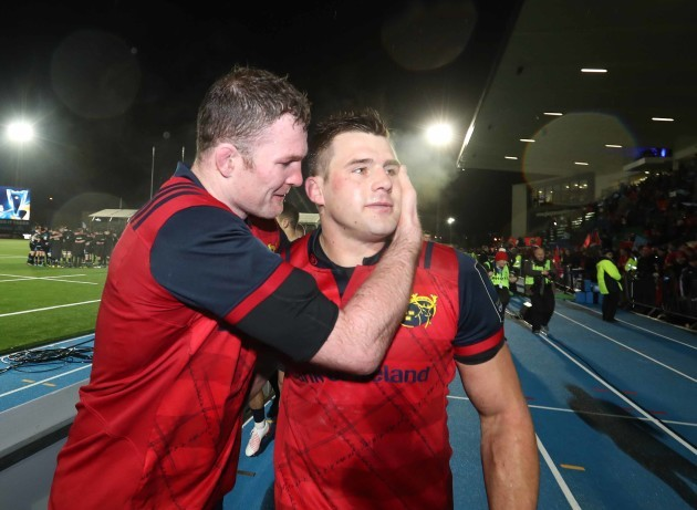 Donnacha Ryan and CJ Stander celebrate after the match