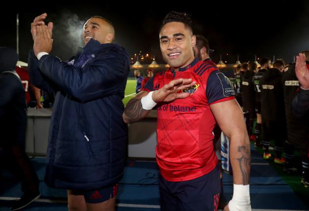 Simon Zebo and Francis Saili celebrate after the match