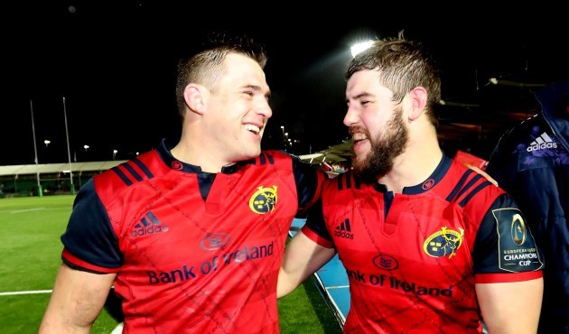 Munster's CJ Stander  and Rhys Marshall celebrate after the match