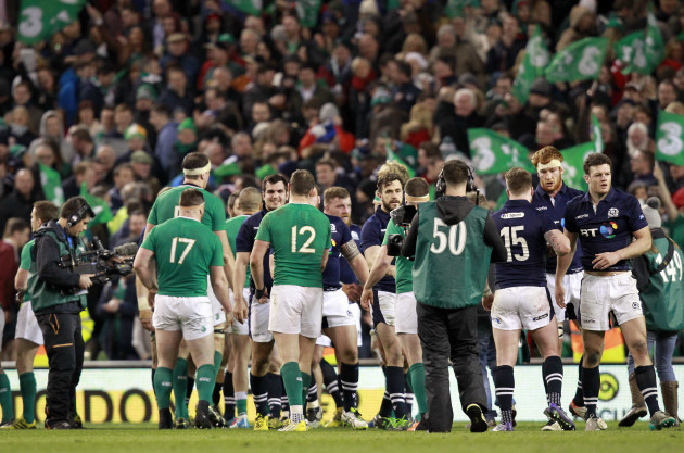 Ireland and Scotland players after the final whistle
