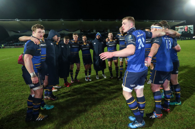 The Leinster team huddle