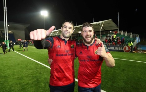 Conor Murray and Rhys Marshall celebrate after the match
