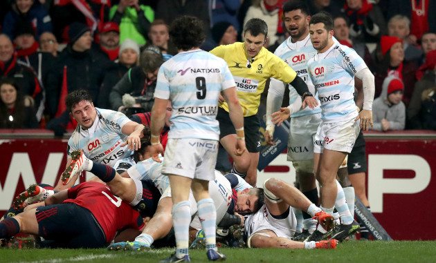 Conor Murray is held up at the try line