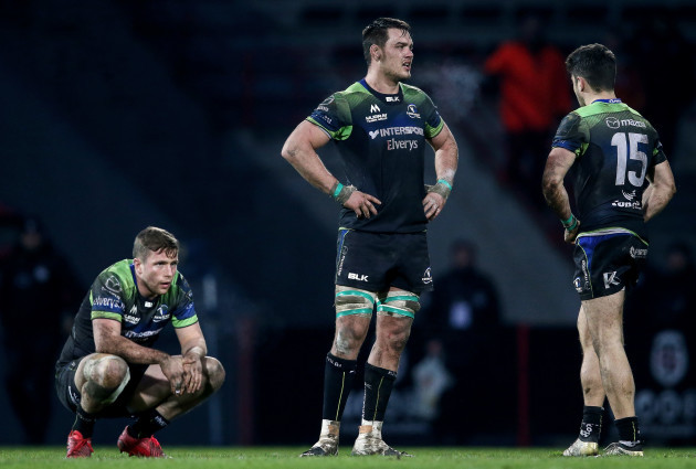 Jack Carty, Quinn Roux and Tiernan O'Halloran dejected after the game 22/1//2017