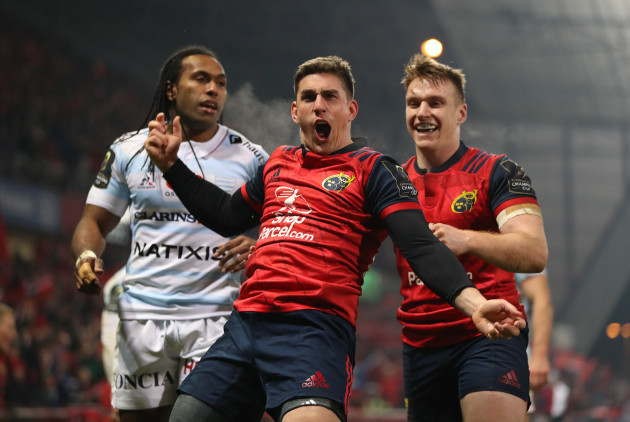 Ian Keatley celebrates scoring a try with Rory Scannell
