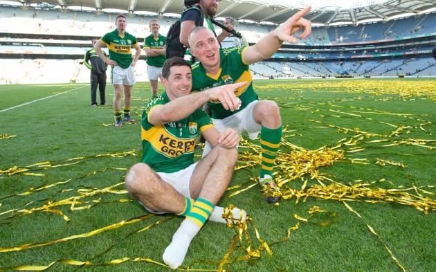 Kerry's Aidan O'Mahony and Kieran Donaghy celebrate on the pitch