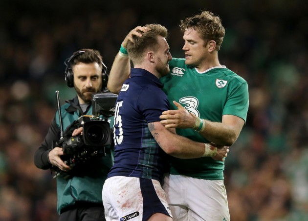 Jamie Heaslip with Stuart Hogg at the end of the game