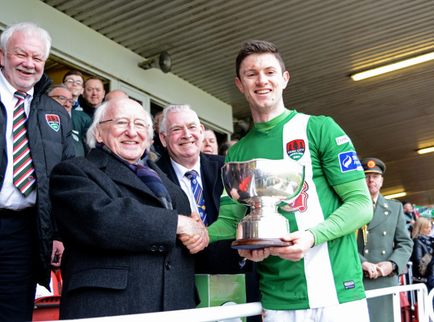 John Dunleavy and Michael D Higgins with the cup