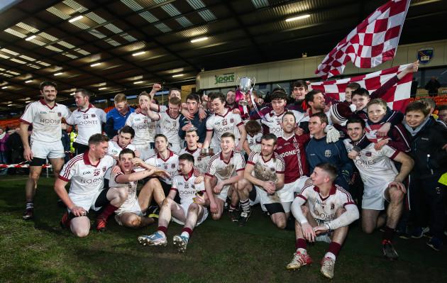 Slaughtneil's players celebrate winning