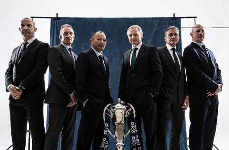 Conor O'Shea, Rob Howley, Eddie Jones, Joe Schmidt, Guy Noves and Vern Cotter