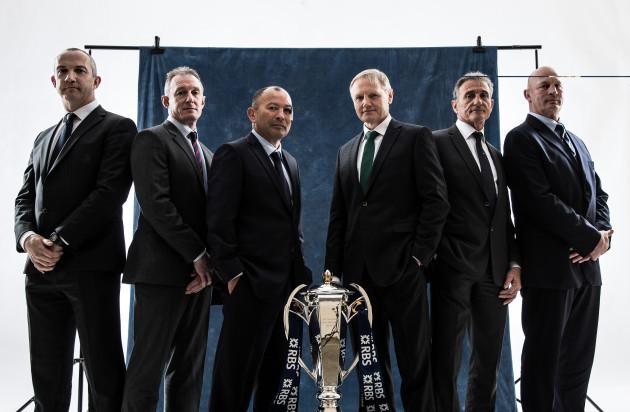 Conor O'Shea, Rob Howley, Eddie Jones, Joe Schmidt, Guy Noves and Vern Cotter