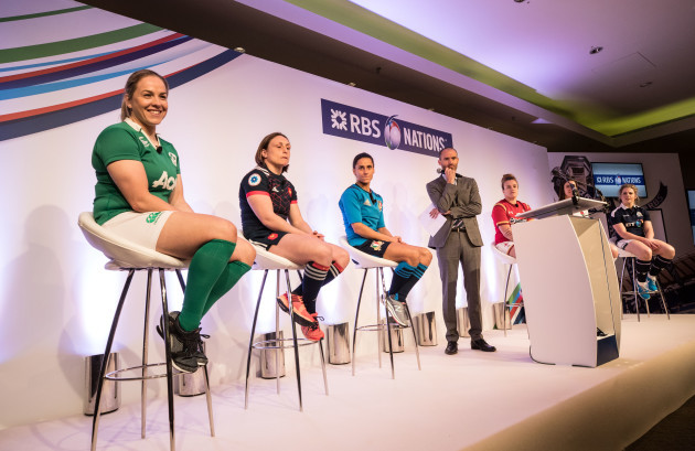 The Women's Captains on the stage at the launch of the 2017 RBS Six Nations Championship