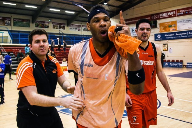 Jermaine Turner celebrates after the game with Brian O'Malley