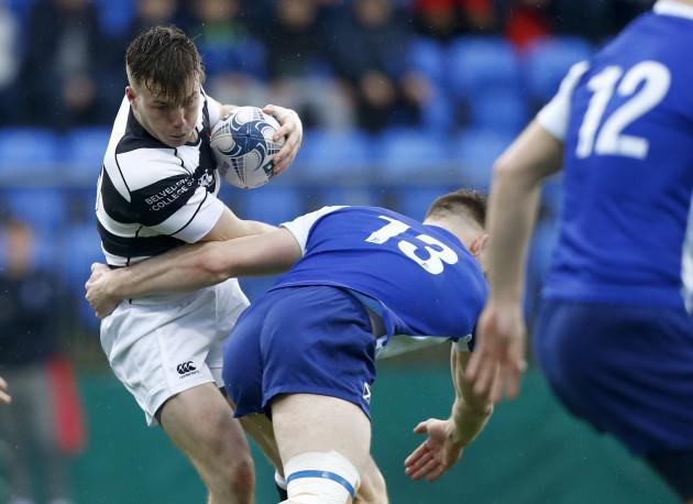 David Hawkshaw is tackled by Peter Sullivan