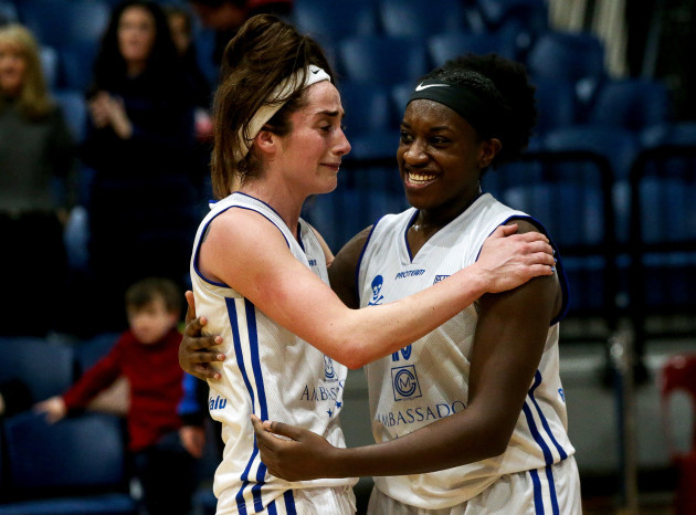Grainne Dwyer celebrates with Chantell Alford after the game