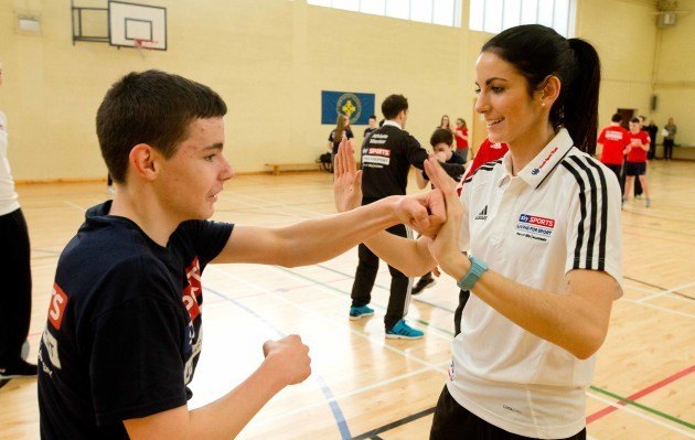 Jessie Barr takes a skills session with pupils from New Cross College, Finglas