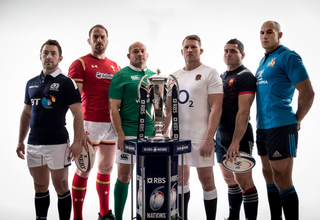 Greig Laidlaw, Alun Wyn Jones, Rory Best, Dylan Hartley, Guilhem Guirado and Sergio Parisse
