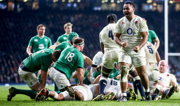 Billy Vunipola celebrates after his side won a late penalty