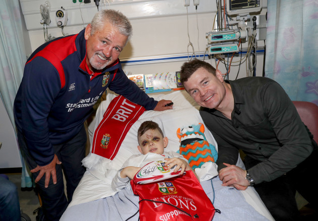 Brian O'Driscoll and Warren Gatland with Billy Norris