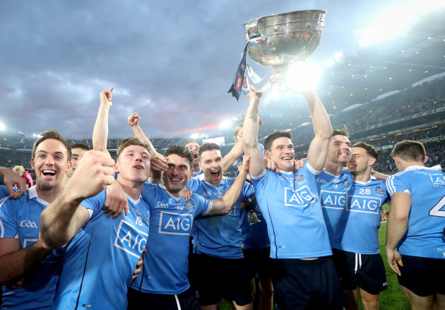Dublin celebrate with the trophy after the game