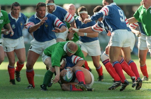 Olivier Merle is tackled by Terry Kingston