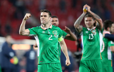 Seamus Coleman celebrates the win
