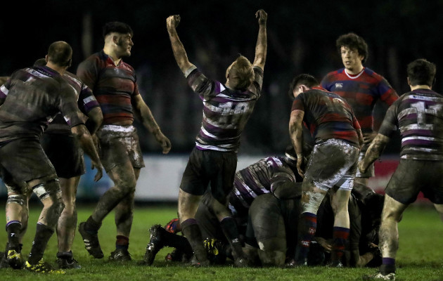 Mark O'Neill celebrates at the final whistle
