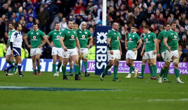 Cian Healy, Rory Best and Jamie Heaslip dejected