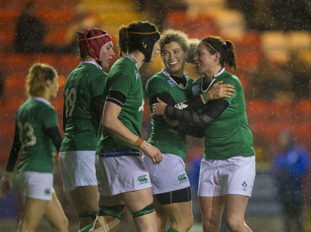 Jenny Murphy celebrates scoring the winning try