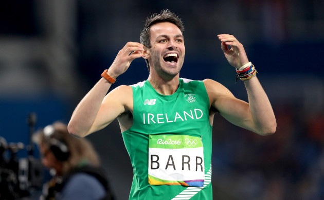 Thomas Barr celebrates coming first in his semi-final