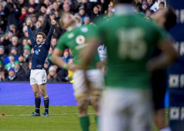 Greig Laidlaw celebrates after kicking a penalty to win the game