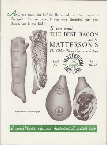 Mattersons advertisment, Courtesy Limerick Archives