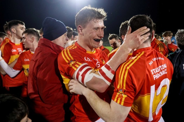Eoghan O'Reilly and James Durkan celebrate after the game