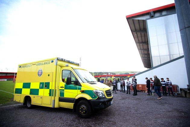 An ambulance arrives to bring Darragh Long to the hospital