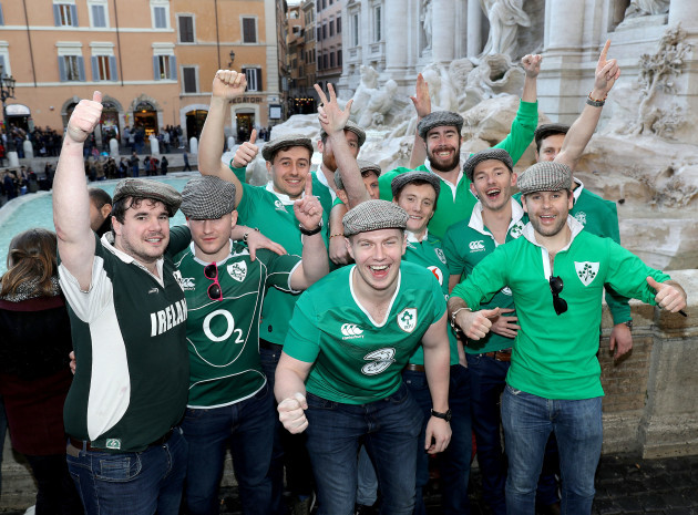 Ireland fans enjoy the atmosphere in Rome at the Trevi Fountain