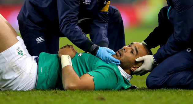 Simon Zebo gets treatment after a high tackle